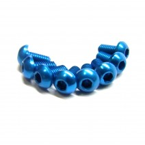 Aluminium Screw 8pcs, 3 x 6mm (Round Head) - Blue  #RO-ABH 3x6T-B