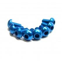 Aluminium Screw 8pcs, 3 x 6mm (Round Head) - Blue  #RO-ABH 3x6T-B