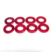 Aluminium 3mm Washer 8pcs , 0.5mm - Red  #RO-AW05-R